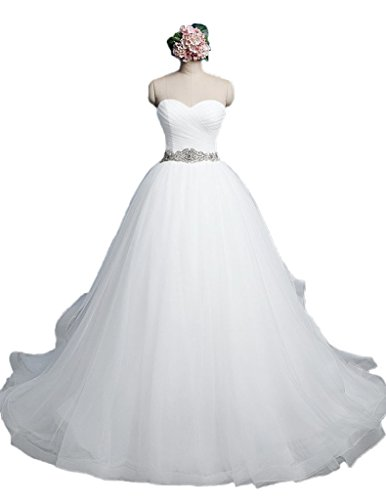 Corset Wedding Dress Bridal Gown - Ice Beauty Tulle Ball Gowns Beads Sequins Wedding Dresses Corset Bridal Gowns White US 8