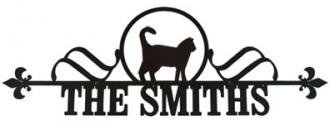 Village wrought iron cat customized house plaque
