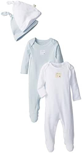 Burt's Bees Baby Girls' Set of 2 Organic Coveralls and Knot Top Hats