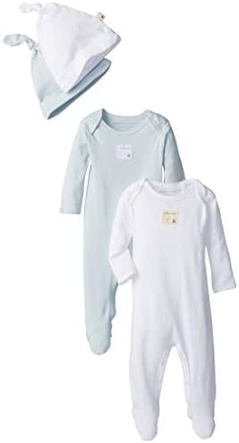 Burt's Bees Unisex Baby Organic Set of 2 Coveralls with 2 Caps