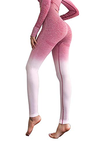 (MMIW COLLECTION Seamless High Waisted Gym Leggings for Women Stretch Yoga Pants Ombre Workout Running Leggings(1901-Pink-S))