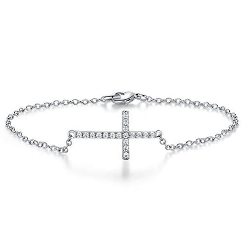 """OPALTOP Religious Cross CZ Bracelet White Gold Plated Christian in Good Faith for Women Men 7.68"""""""