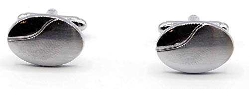 Silver Cufflinks Polished Oval Sterling (Stephanie Imports Men's Platinum-Plated Oval Shaped Cufflinks in Gift Box)