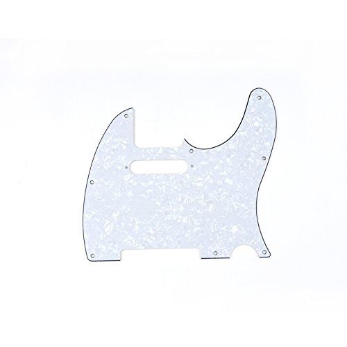 Musiclily 8 Hole Tele Pickguard Guitar Scratch Plate Pick Guards for American/Mexican Made Fender Standard Telecaster Modern Style,4Ply White Pearl