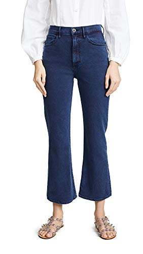(3x1 Women's Empire Crop Flare Jeans, Mineral Blue, 29)