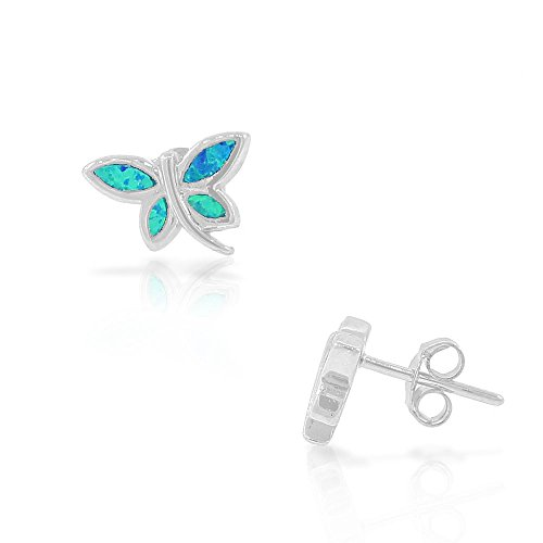925 Sterling Silver Blue Turquoise-Tone Simulated Opal Dragonfly Stud ()