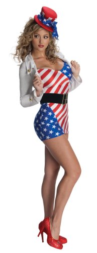 Secret Wishes Miss Independent Costume, Red/White/Blue, (Stripes Sexy Costumes)