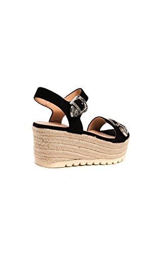 Womens Doppelschnalle Sandalen Flatform Ikrush Schwarz Afia ZqEpn66WB