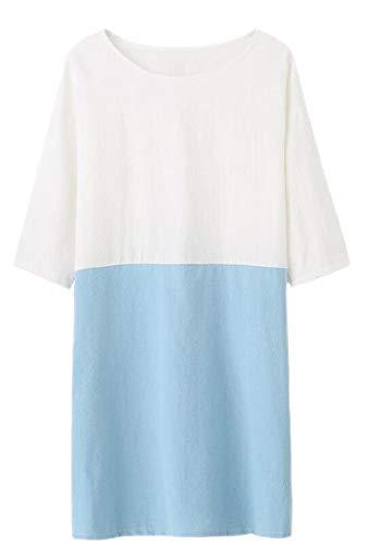 Sodossny-au Femmes Poches En Lin Coton Lâche 3/4 Manches Robe Chemise Col Rond Bleu Clair
