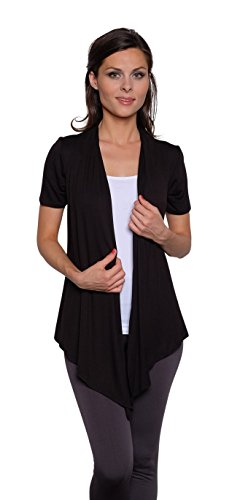 Free to Live Women's Short Sleeve Light Weight Open Front Cardigan (XL, Black)