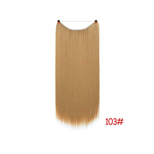 24 Inch Invisible Wire No Clips In Hair Extensions Secret Fish Line Hairpieces Straight Real Natural Synthetic,103,24Inches -