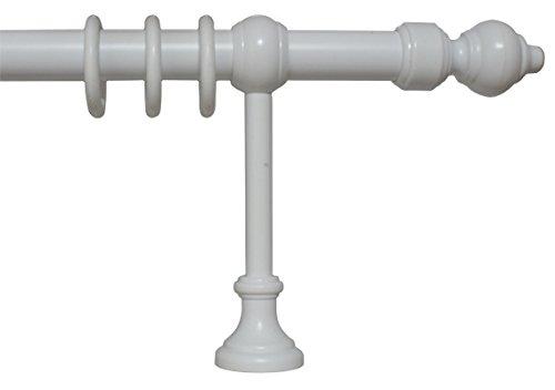 Gardinenstange weiß aus Metall und Kunststoff mit 28 mm Durchmesser, viele Größen, 300 cm mittig geteilt