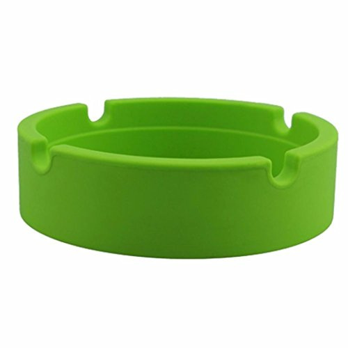 LiPing Silicone Round Modern Tabletop Ashtray Cigarette Ashtray Ash Tray for Indoor or Outdoor Use Home office Decoration (Green) ()