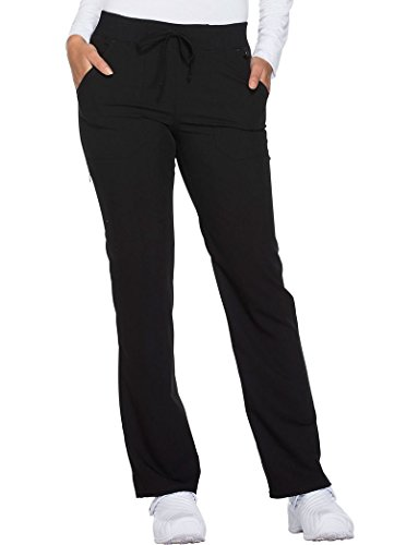 Dickies Xtreme Stretch by Women's Drawstring Straight Leg Scrub Pant XX-Large Tall Black (Straight Tab Leg)