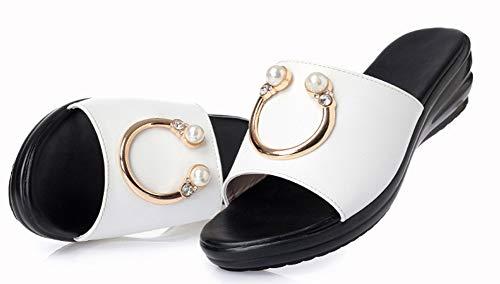 Moyen Blanc Femme Easemax Mules Antidérapage Métallique Talon Fashion w0RIpz
