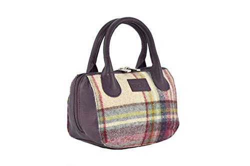 KWH Mala Abertweed Collection British Leather in Plum Purple with Pink & White Tweed Grab Purse Handbag ()