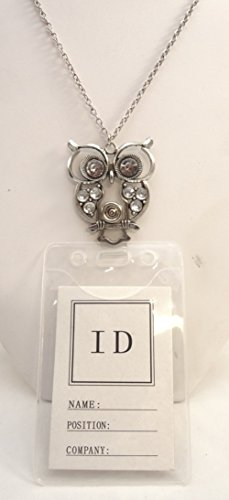 New Long Fancy Silver Tone Owl Id Badge Holder Necklace L...