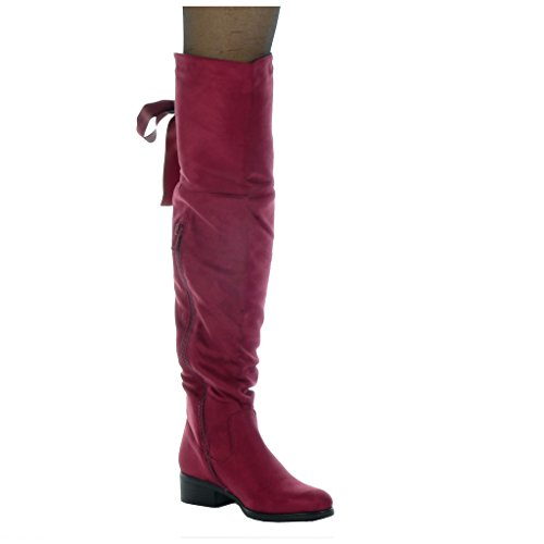 aus Kavalier Oberschenkel Damen Heel 3 5 Angkorly Schnürsenkel Flexible Blockabsatz cm high Boot Reitstiefel Burgunderrot Satin Schuhe XqfXn8RT