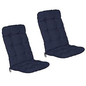 Beautissu Set de 2 Cojines sillas Jardin Flair HL – Cojín para sillas de terraza o Cojines Exterior con Respaldo Alto – 120x50x8 cm – Relleno de Copos de gomaespuma – Azul Marino