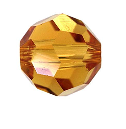24pcs 8mm Adabele Austrian Round Crystal Beads Amber Yellow Compatible with 5000 Swarovski Crystals Preciosa SS2R-807
