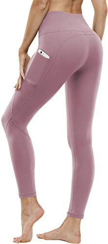 FUNANI High Waist Yoga Pants with Pockets, Tummy Control Yoga Pants for Women, 4 Ways Stretch Workout Leggings with Pockets (Pink,M)