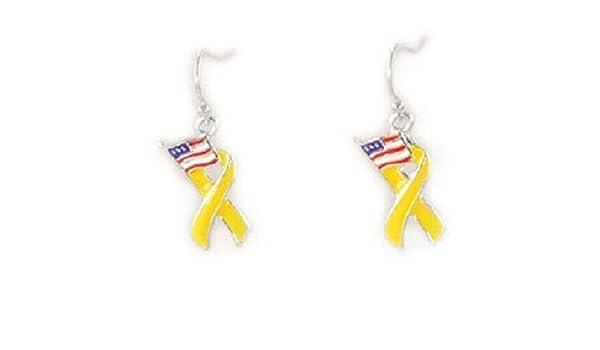 Pendientes de cinta amarilla con diseño de la bandera de los Estados Unidos, color rojo, blanco y azul, joyería de moda para mujeres y hombres: Amazon.es: Juguetes y juegos
