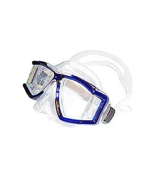 Tilos Panoramic 4 Window Scuba and Snorkeling Quality Mask, Blue