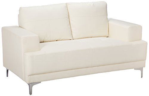 Monarch Bonded Leather Match Love Seat, (Ivory Leather Match)