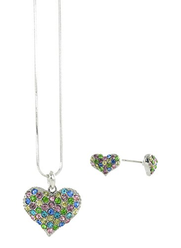 - Puffed Heart Rhinestone Necklace Pendant and Mini Heart Stud Earrings Set with Multicolored Crystals