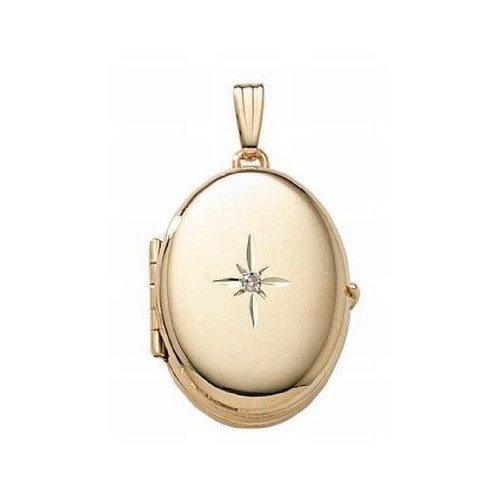 Solid 14K Yellow Gold Oval Four Photo Locket W/ 4 Pt. Diamond 3/4 Inch X 1 Inch Solid 14K Yellow Gold by PicturesOnGold.com