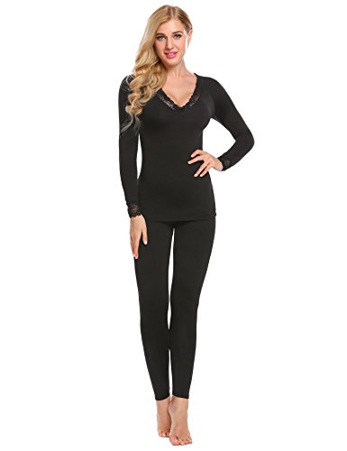 Hufcor Women Lace Trimmed Thermal Underwear Sets 2 Pieces Solid Long-Sleeved Pants Suit,Black,XL ()