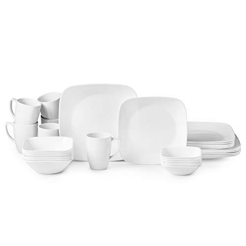 Corelle Boutique Square Vivid White 30-Piece Dinnerware Set, Service for 6