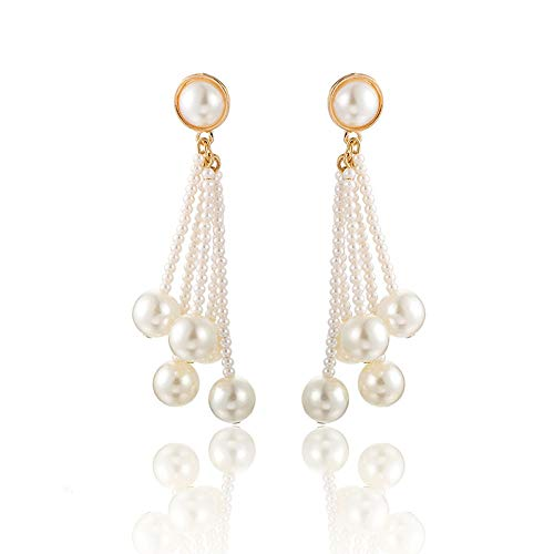 Beaded Geometric Dangle Earrings Drop Beads Chandelier Pearl Stud Earrings Women Girls Fashion Piercing Wedding Bridal Bohemian Dangling Charms Jewelry ()