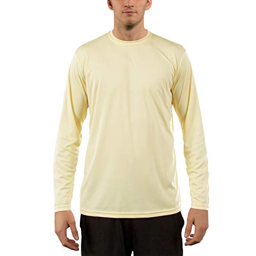 Vapor Apparel Men's UPF 50+ UV Sun Protection Performance Long Sleeve T-Shirt Small Pale Yellow ()