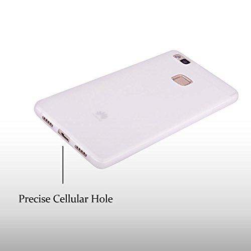 Funda Silicona para Huawei P9 LITE, AllDo Carcasa Protectora Suave Funda Flexible Ligero Soft TPU Gel Case Cover Carcasa Ultra Delgado Caja de Diseño Simple Funda Color Sólido Carcasa Anti Rasguños An Blanco