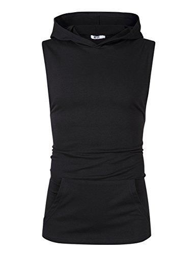 MrWonder Men's Casual Workout Hooded Tank Tops Gym Shirt Sleeveless Hoodie with Kanga Pocket (M, Black)