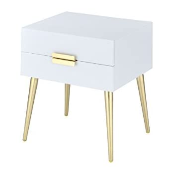 ACME Furniture 84496 Denvor End Table, White/Gold
