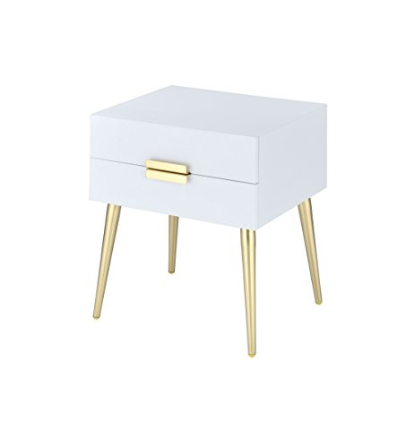 Acme Furniture 84496 Denvor End Table, White Gold