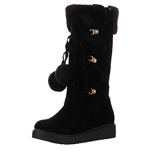 Women's Flock Lace-Up Boots,Sunyastor Ladies Strappy Flat Shoes Middle Tube Round Toe High Over The Knee Riding - Boot Womens Tall Midsummer