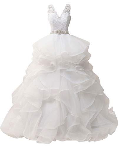 Wedding Dress for Bride Lace Brial Dresses with Belt A line Bride Dress V Neck Ruffles White