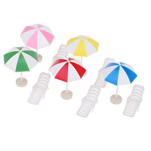 (Fityle 5 Set Mini Deck Chair Beach Umbrella for Dollhouse Yard Garden Swimming Pool Life Scenes Decor Kids Pretend Play Toy)
