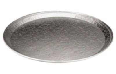 Durable 18'' Round Flat Aluminum Foil Catering Tray (pack of 50) - Disposable Foil Serving Pan