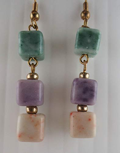 (Dangling Goldtone Marbled Green/Purple/White Glass Cube Bead Earrings )