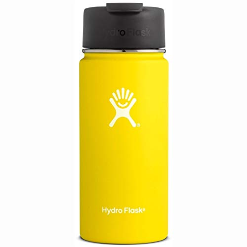 Hydro Flask 16 oz Travel Coffee Flask - Stainless Steel & Vacuum Insulated - Wide Mouth with Hydro Flip Cap - Lemon