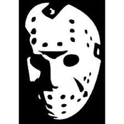[Jason Voorhees Mask Friday the 13th Vinyl Decal Sticker|Walls Cars Trucks Vans Laptops|White|5.5 In] (Barney Infant Costumes)