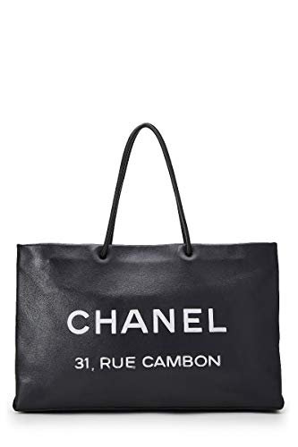 Chanel Real Leather - CHANEL Black Leather Essential Rue Cambon Shopping Tote Medium (Pre-Owned)