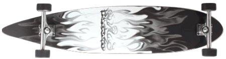 Krown Gray/White Flame Complete Longboard Skateboard