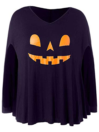 KCatsy Plus Size V-Neck Casual Print Halloween Pumpkin