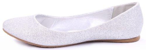 Scout Balletto Semplice Glitter Piatto Punta Arrotondata Casual Comfort Argento Piatto