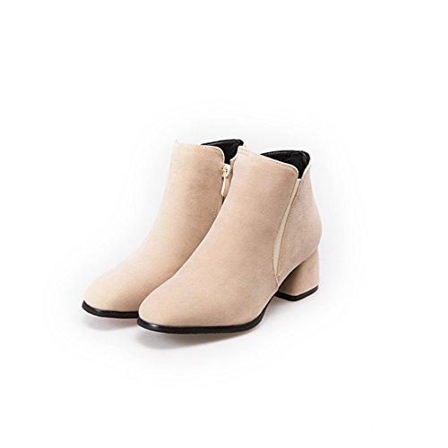 En Bottines Fermetures Nubuck D'hiver À Glissière Mi Bloc Cuir Talon Latérales Automne Beige Chaussures Agodor Avec Womens 1gnq8xE